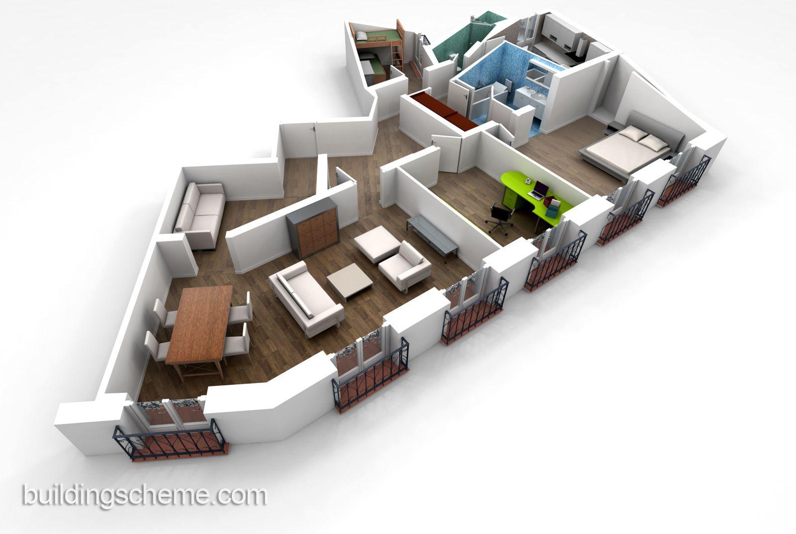 Unique Building Scheme for Home Floor Plans Design Idea with Balcony ...