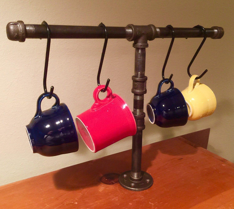 Industrial black pipe coffee mug holder coffee cup rackhanger