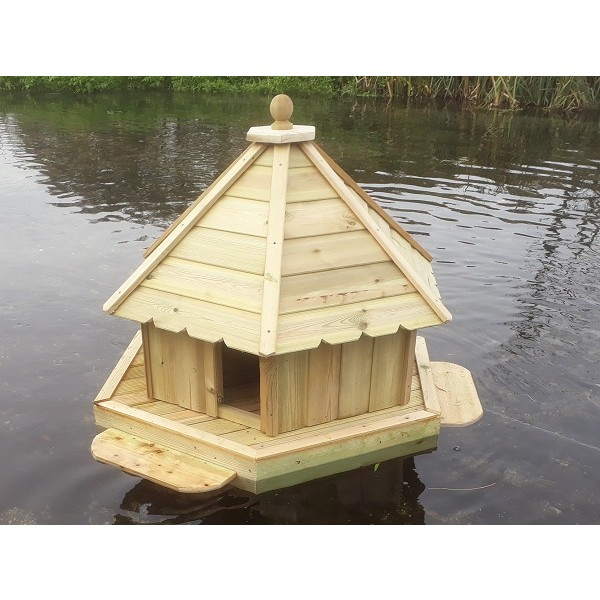 Buttercup Hexagonal Floating Duck House Medium Waterfowl Nesting Box for Pond or Lake Floating Duck Houses and Waterfowl Platforms Duck Waterfowl Houses and Runs Chicken Duck Waterfowl and Poultry Housing