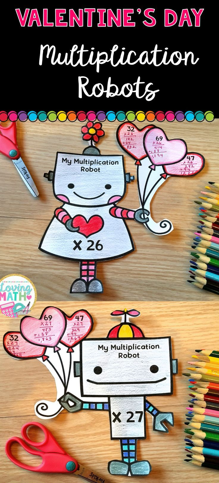 valentine 39 s day math craft 2 digit multiplication multiplication math crafts and math. Black Bedroom Furniture Sets. Home Design Ideas
