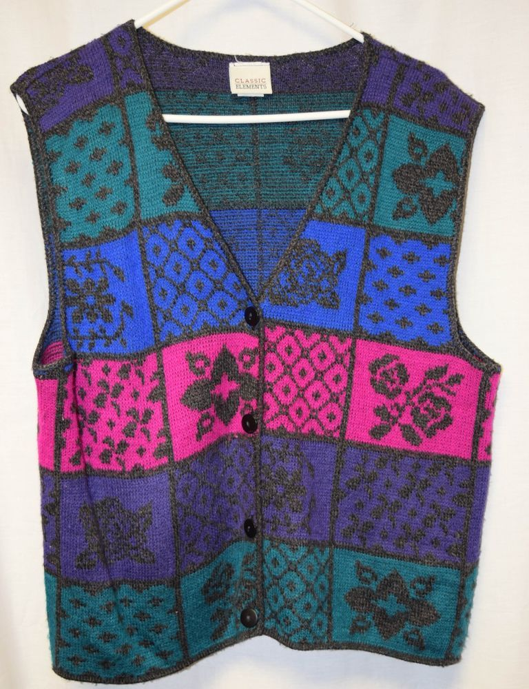Womens Sweater Vest Sz L By Classic Elements Multi Color Button Front Sleeveless #ClassicElements #SweaterVest