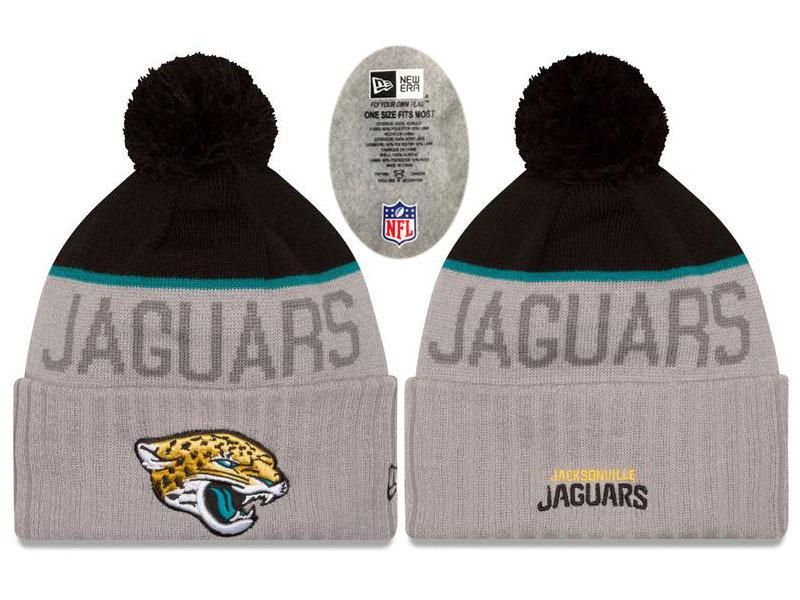 Mens   Womens Jacksonville Jaguars New Era NFL Vivid Team Graphics On-Field  Sports Knit Pom Beanie Hat - Heather Grey   Black ebfee0b52