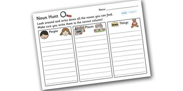 Noun Hunt Worksheet - worksheets, worksheet, work sheet, non ...