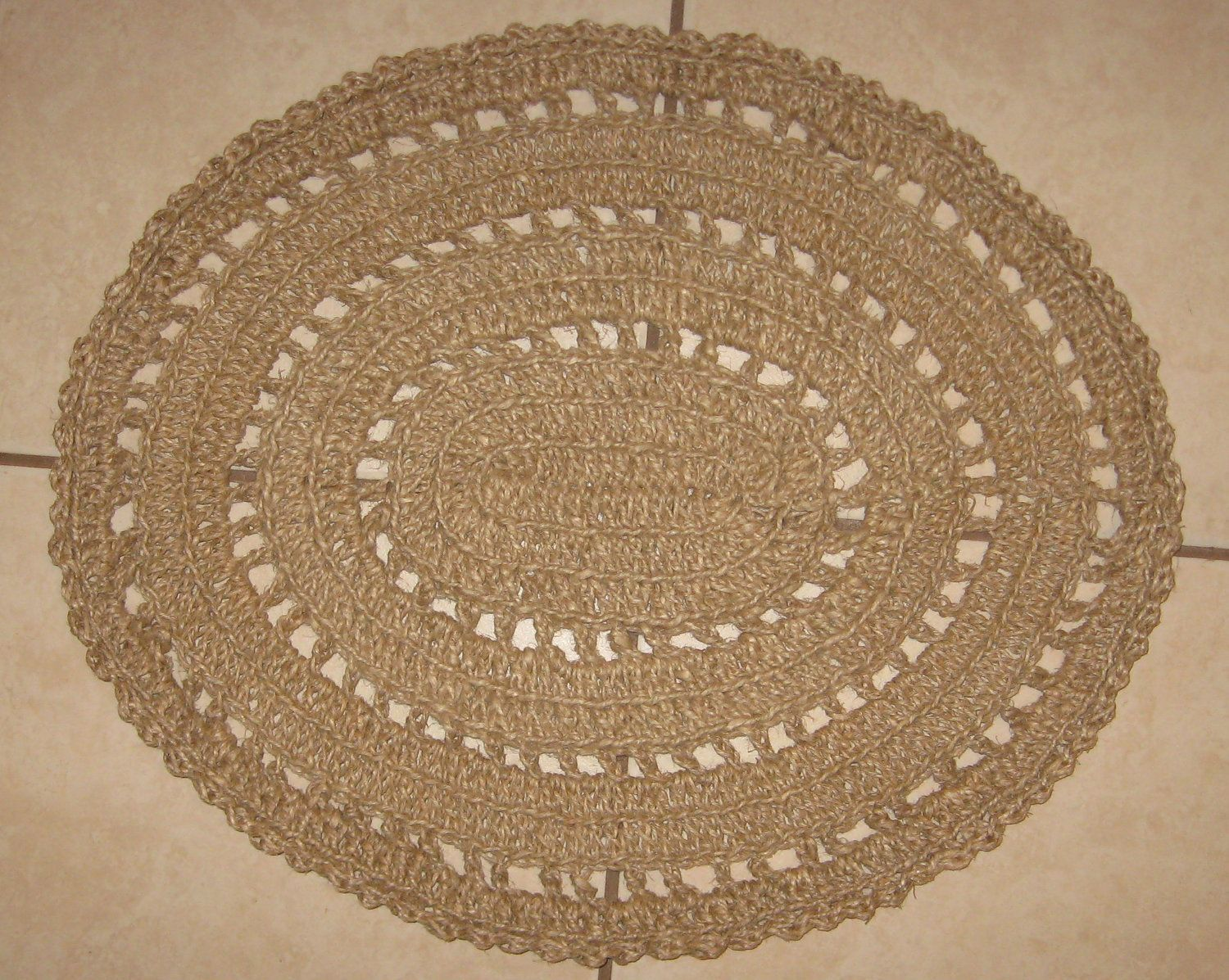 Crochet Natural Hemp Rope Rug.