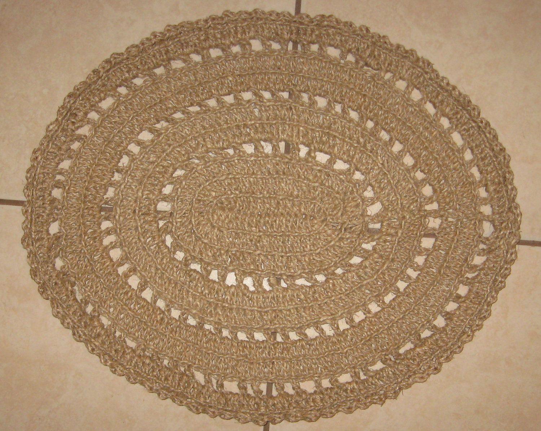 Crochet Natural Hemp Rope Rug.