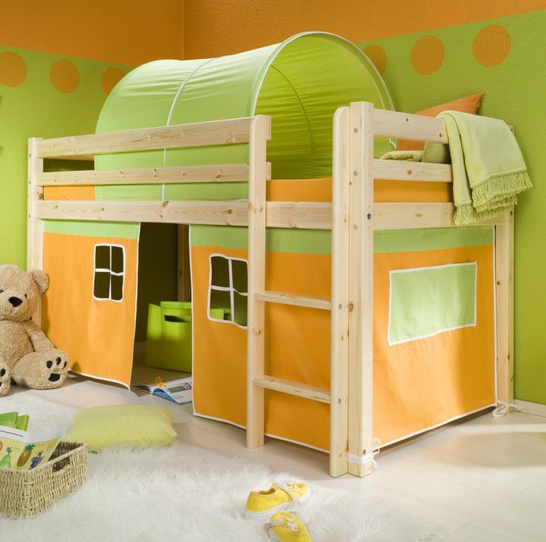 Kids Tents For Beds Minnie Solid Pine Natural Midsleeper Bed With Orange Tent And Green Medium Version Bed Tent Bunk Beds Kids Loft Beds