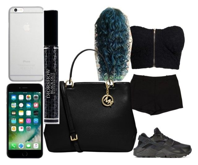 """""""black gang crip"""" by pettyallthe on Polyvore featuring NLY Trend, L'Agence, NIKE, Native Union, MICHAEL Michael Kors and Christian Dior"""
