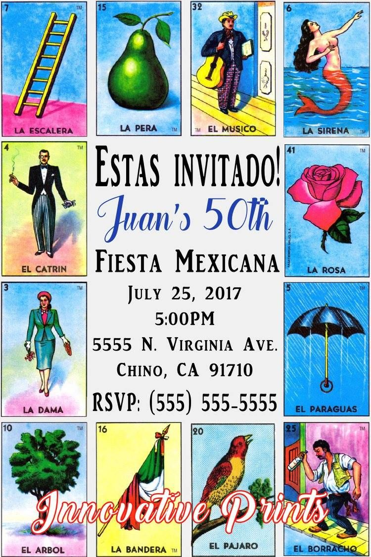Loteria Invitations Click on the image twice to place