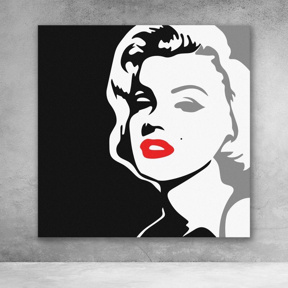 Marilyn Monroe Black And White Pop Culture Modern Graffiti Canvas Wall Art In 2021 Pop Art Painting Pop Art Marilyn Pop Art Drawing