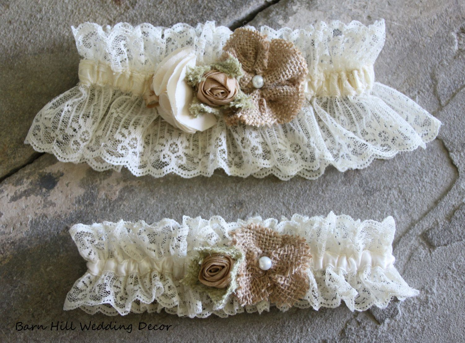 Garter Set Keepsake Toss Lace Wedding Burlap Rustic