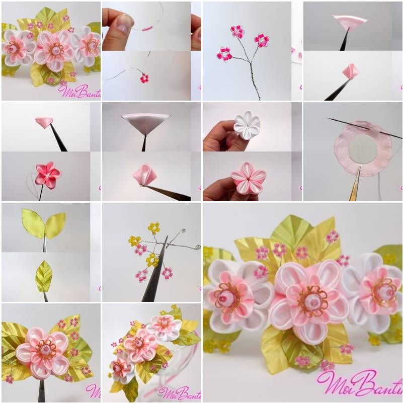 How to make golden sakura ribbon flowers step by step diy for Flower making ideas step by step