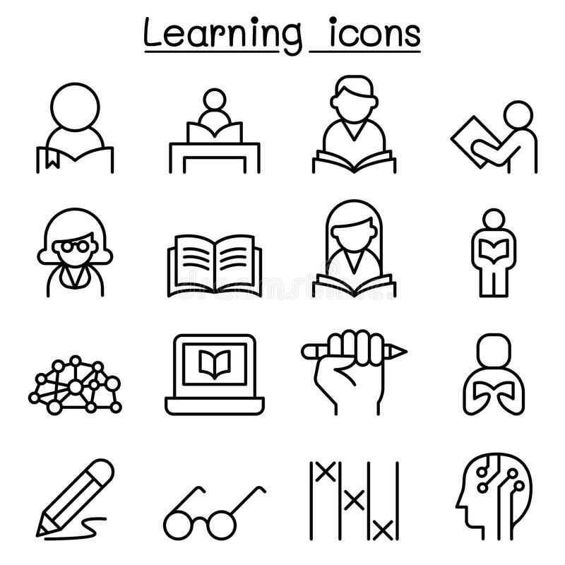 Study Learning Education Icon Set In Thin Line Style Vector Illustration Grap Sponsored Icon Set Thin Study Learni Education Icon Icon Set Icon