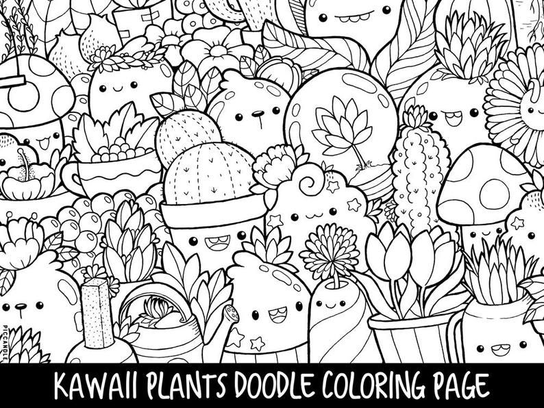 Plants Doodle Coloring Page Printable Cute Kawaii Coloring Etsy In 2020 Cute Coloring Pages Plant Doodle Doodle Coloring