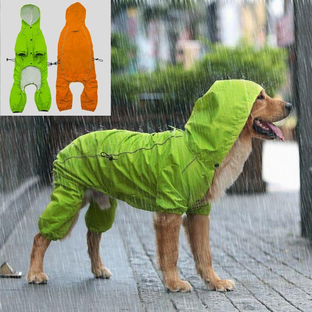 Reflective Pet Dog Raincoat Waterproof Dog Rain Jacket Coat With Hood For Medium Large Dogs Golden Retriever Dog Raincoat Big Dog Clothes Dogs Golden Retriever