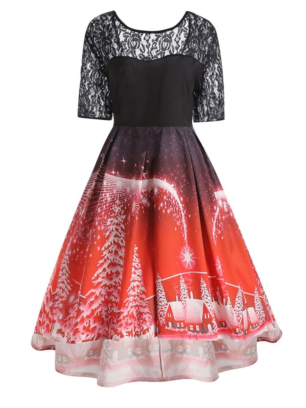 5aed9f27262 Plus Size Christmas Party Lace Panel Vintage Dress - RED XL