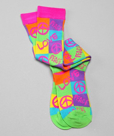 Neon Peace Love Knee High Socks By Chillibeans