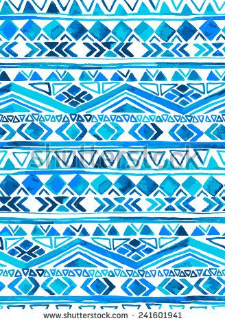 vector seamless tribal pattern in shades of blue and