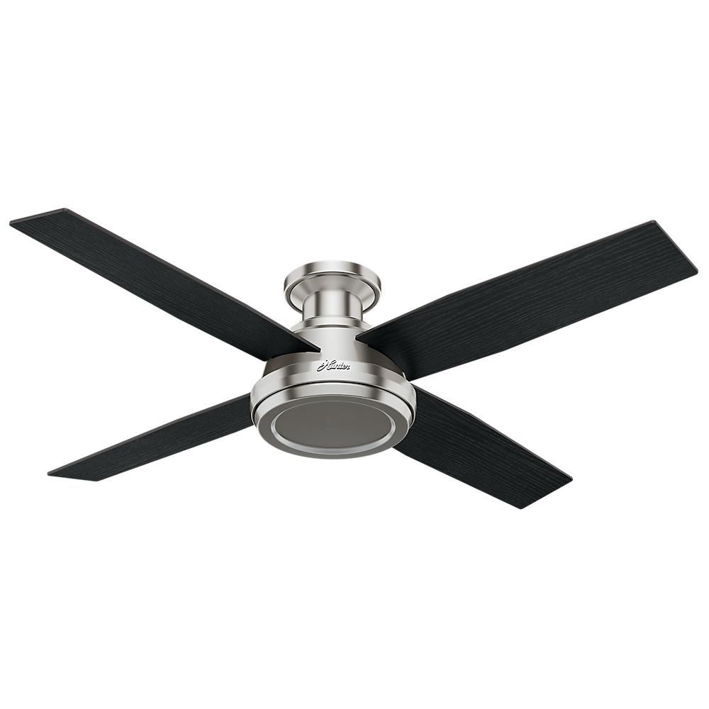 Hunter Dempsey 52 In Low Profile No Light Indoor Brushed Nickel Ceiling Fan With Remote Control 59247 The Home Depot Hunter Ceiling Fans Ceiling Fan Ceiling Fan With Remote