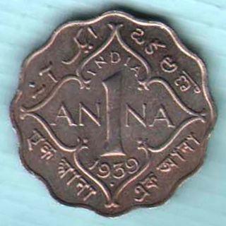 UNC BRITISH INDIA KG V 1//2 PICE  COPPER COIN,1939,CALCUTTA MINT