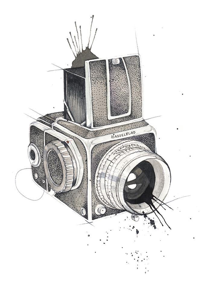 прикольный рисунок фотоаппарата внезапно