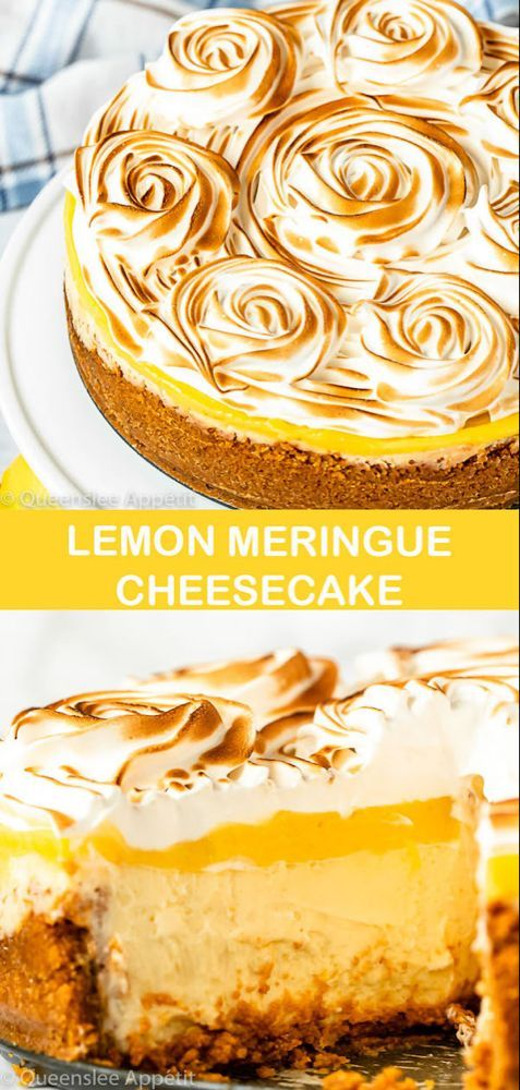 This Lemon Meringue Cheesecake is made with a rich and creamy lemon cheesecake base topped with a tart lemon curd and fluffy meringue. If you're looking for the ultimate lemon dessert, look no further! #lemonmeringue #lemonmeringuecheesecake #lemoncheesecake #dessert #lemoncurd #lemonmeringuecheesecake This Lemon Meringue Cheesecake is made with a rich and creamy lemon cheesecake base topped with a tart lemon curd and fluffy meringue. If you're looking for the ultimate lemon dessert, look no #lemonmeringuecheesecake