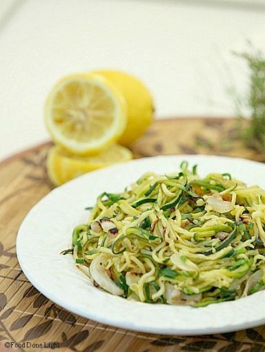 Healthy, Low Calorie, Sautéed Zucchini Noodles with Lemon and Thyme www.fooddonelight.com