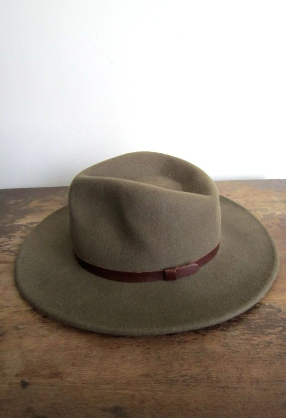 e754d7a5ac0d7f wide brim unisex wool/leather hat by fourprovinces on Etsy, $12.00 ...