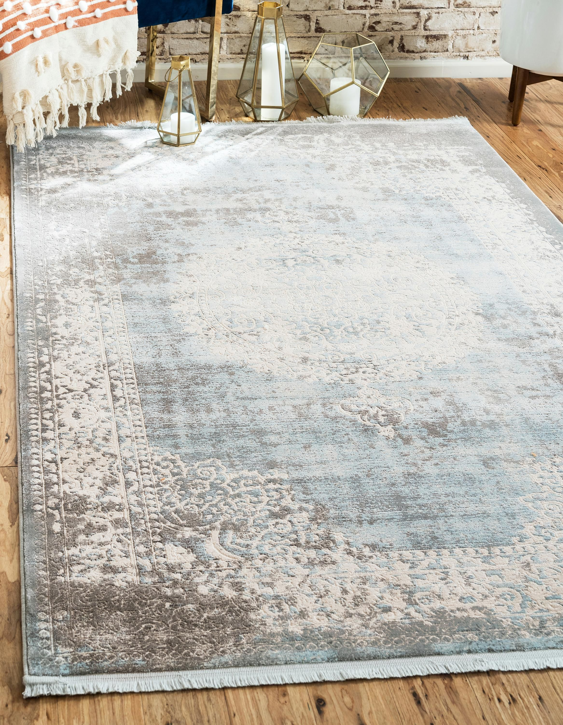 Tappeto Blu E Grigio light blue 8' x 10' new vintage rug | area rugs | rugs.ca