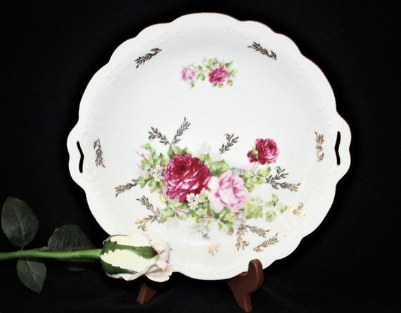 Antique Porcelain Hand Painted 3 Crown China Pierced Handled Cake