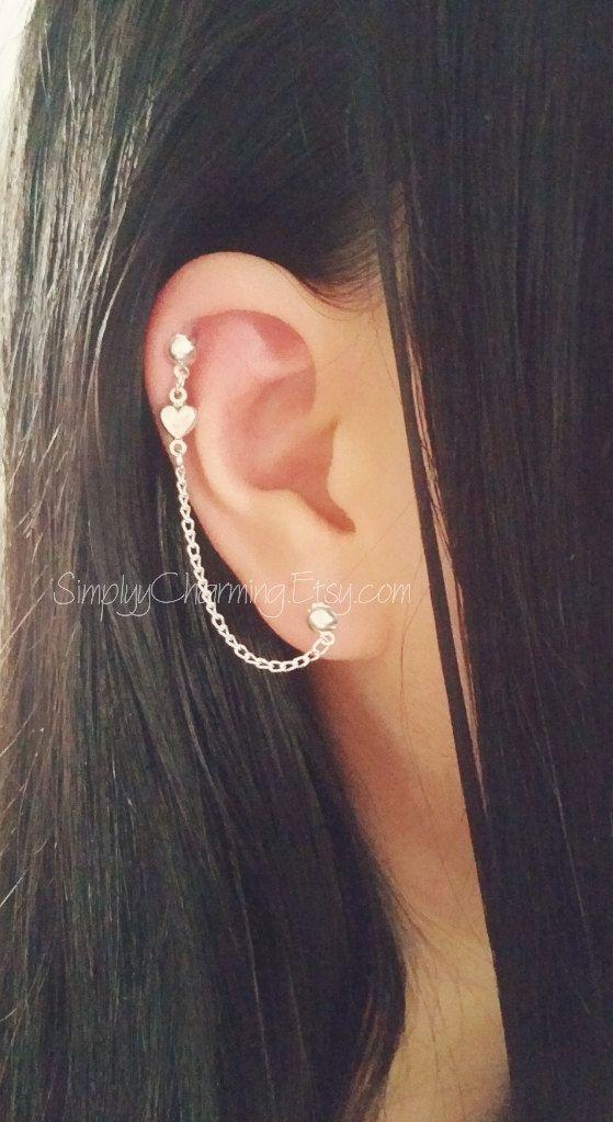 feb5875ea Tiny Heart Cartilage Chain Earrings Double Lobe Helix Ear Cuff Jewelry  Dangle Love