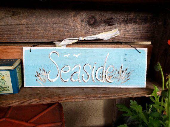 Wood Rustic Beach Sign Primitive