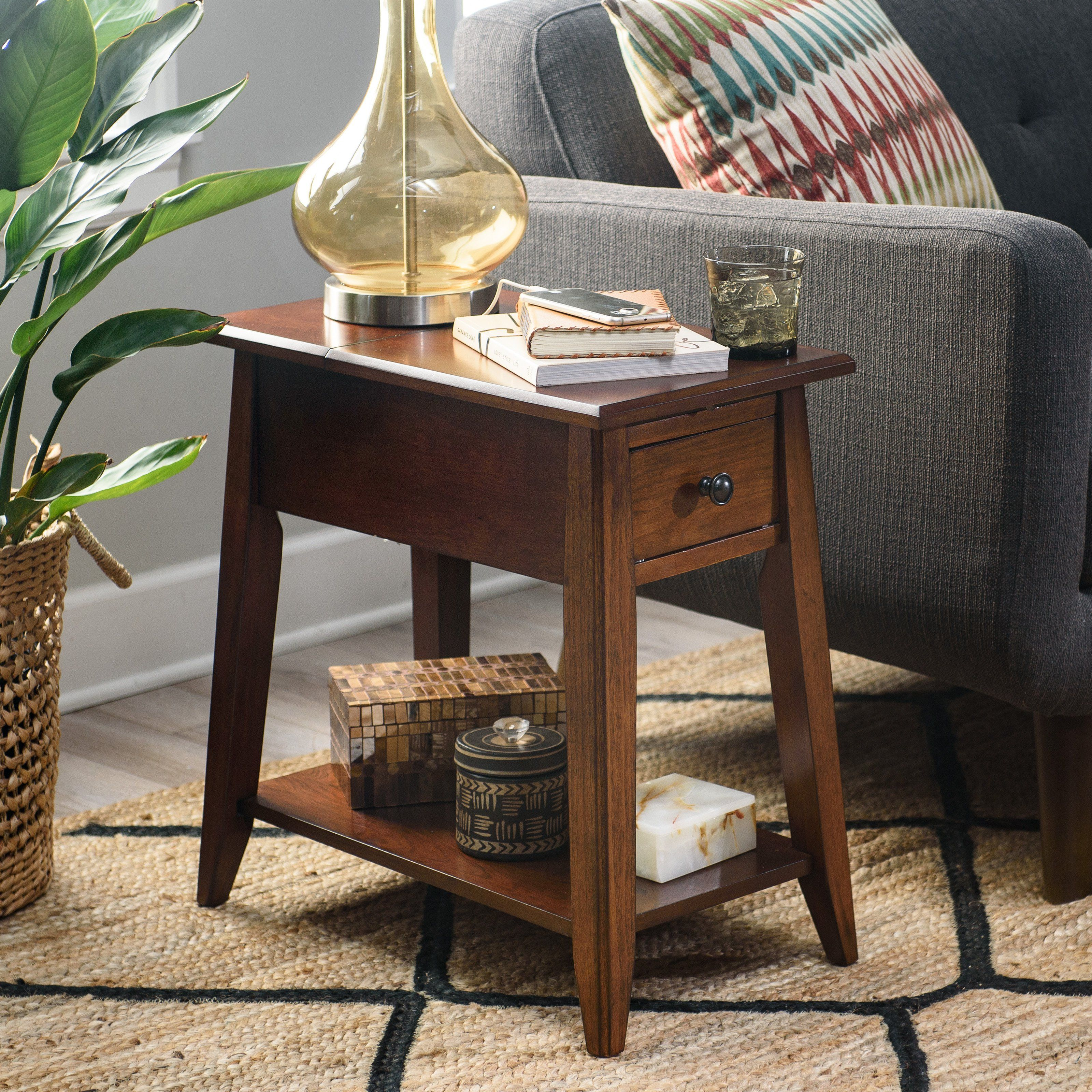 Finley Home Davis Chairside Table With Power Outlet Walnut From Hayneedle Com Chair Side Rustic End Tables Finish Furniture