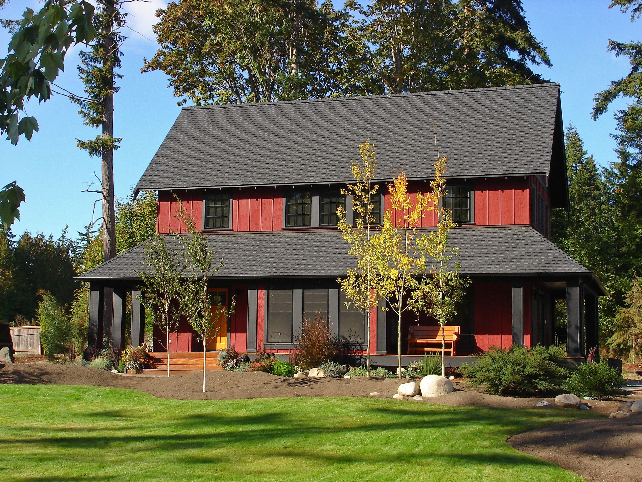 Sears Architects, Seattle, Modern Cottage Style Architecture, Black Roof,  Red House