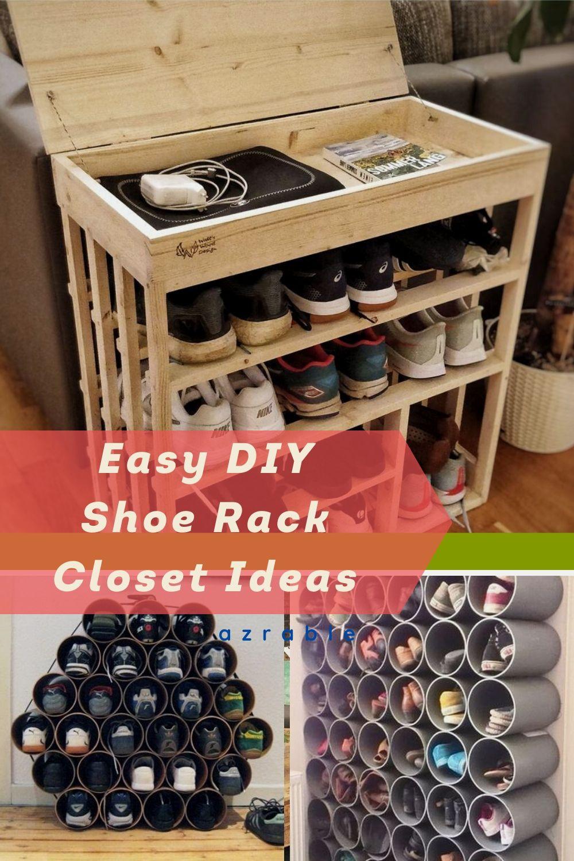 easy diy shoe rack closet ideas in 2020 diy shoe rack on wood shoe rack diy simple id=63812