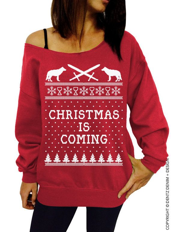 Christmas is Coming - Red with White Ink Slouchy Oversized ...