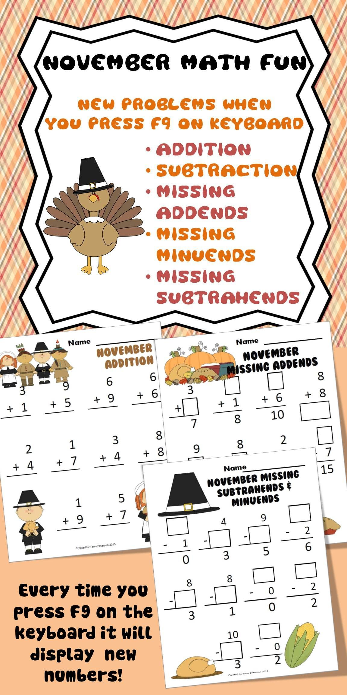 November Thanksgiving Addition Amp Subtraction Facts