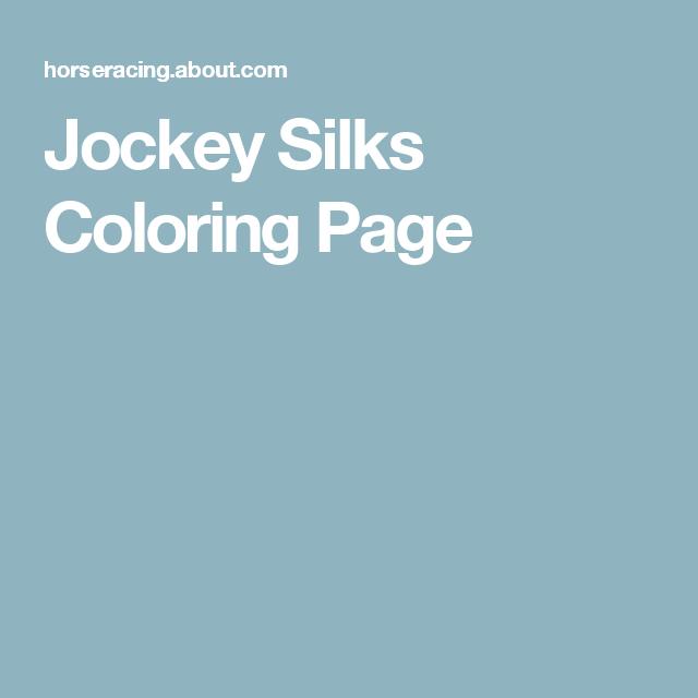 Jockey Silks Coloring Page