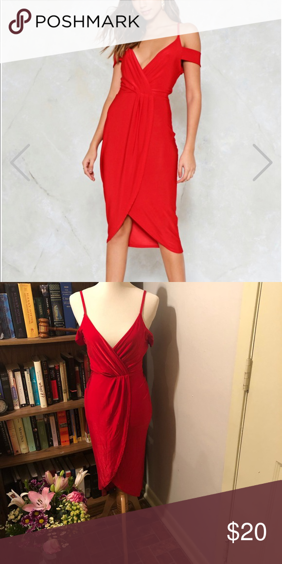 0a0843baf1 Cold shoulder red dress Live your Jessica Rabbit dreams in this so 6 like  new red dress. The fabric is clingy so it fits sz 4 comfortably.