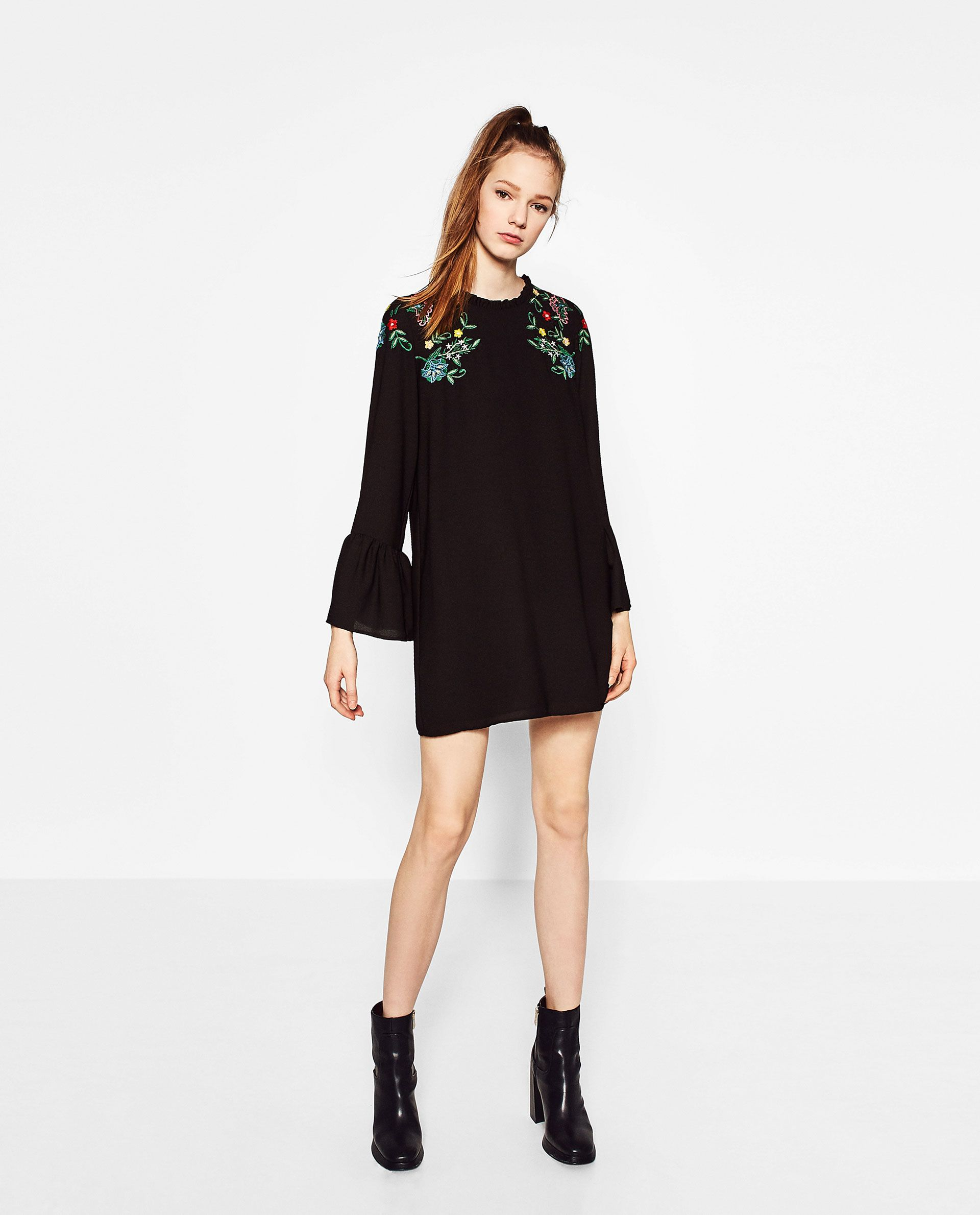 9dba75c8 FRILLED EMBROIDERED DRESS | zara. | Dresses, Fashion dresses, Zara ...