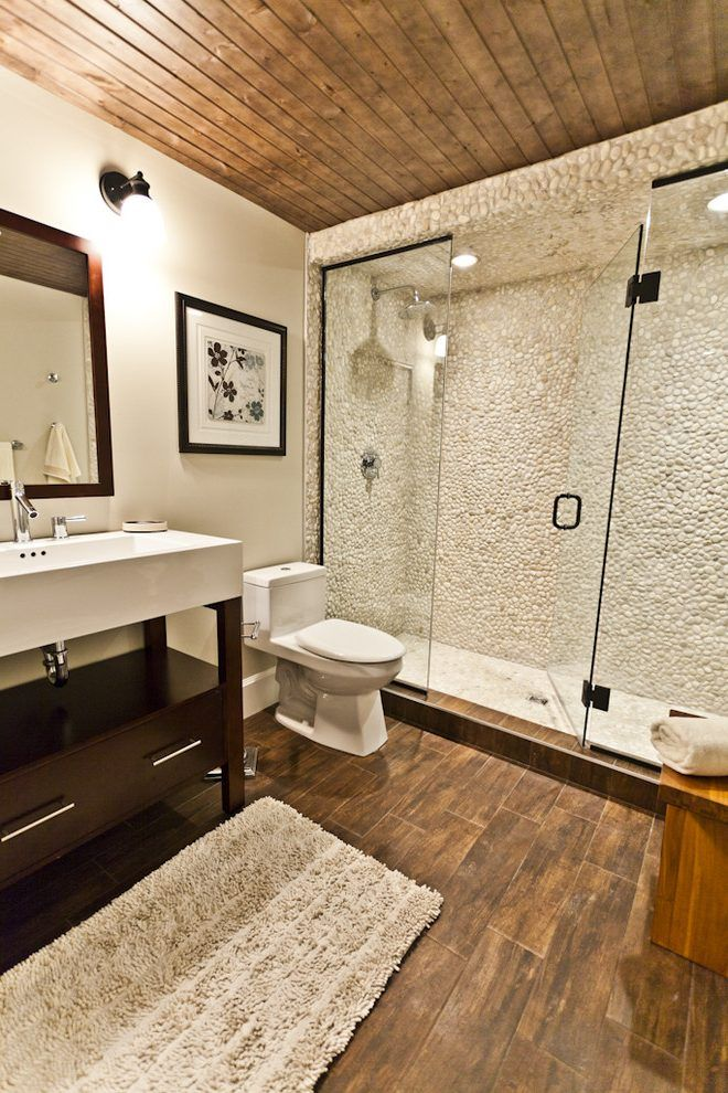 glazed porcelain wood tile shower bathroom contemporary ...