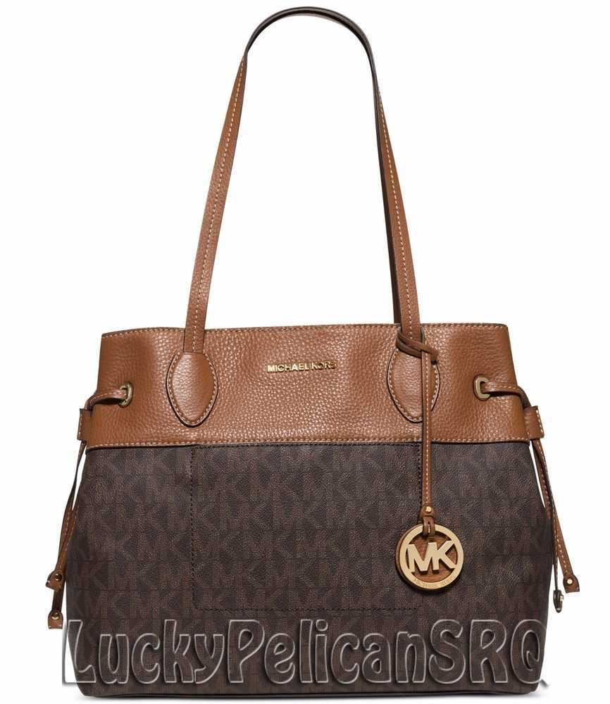 Michael Kors Marina N/S MK Signature Large Drawstring Tote Handbag Bag Brown NWT #MichaelKors #TotesShoppers