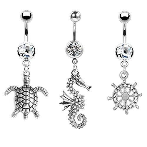 Belly Button Ring Piercing 3 or 5 Pieces This is a beautiful new style belly ring. It is made up of high quality stainless steel that will not rust, with a crystals. It is lightweight, and comfortable to wear. It has very intricate details that you can see up close. This is the perfect style to accentuate your belly button. This will also make a great gift for a loved one. What's in a gauge? The most important gauge on belly button rings is the piercing gauge itself; the belly button ring gauge,