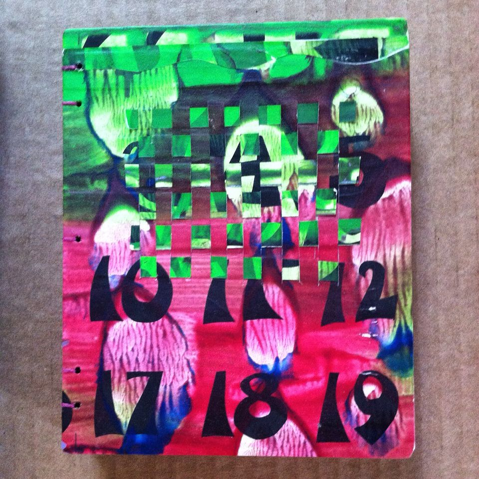 Woven Painted Paste Paper Cover/ Recycle Art Red & Green