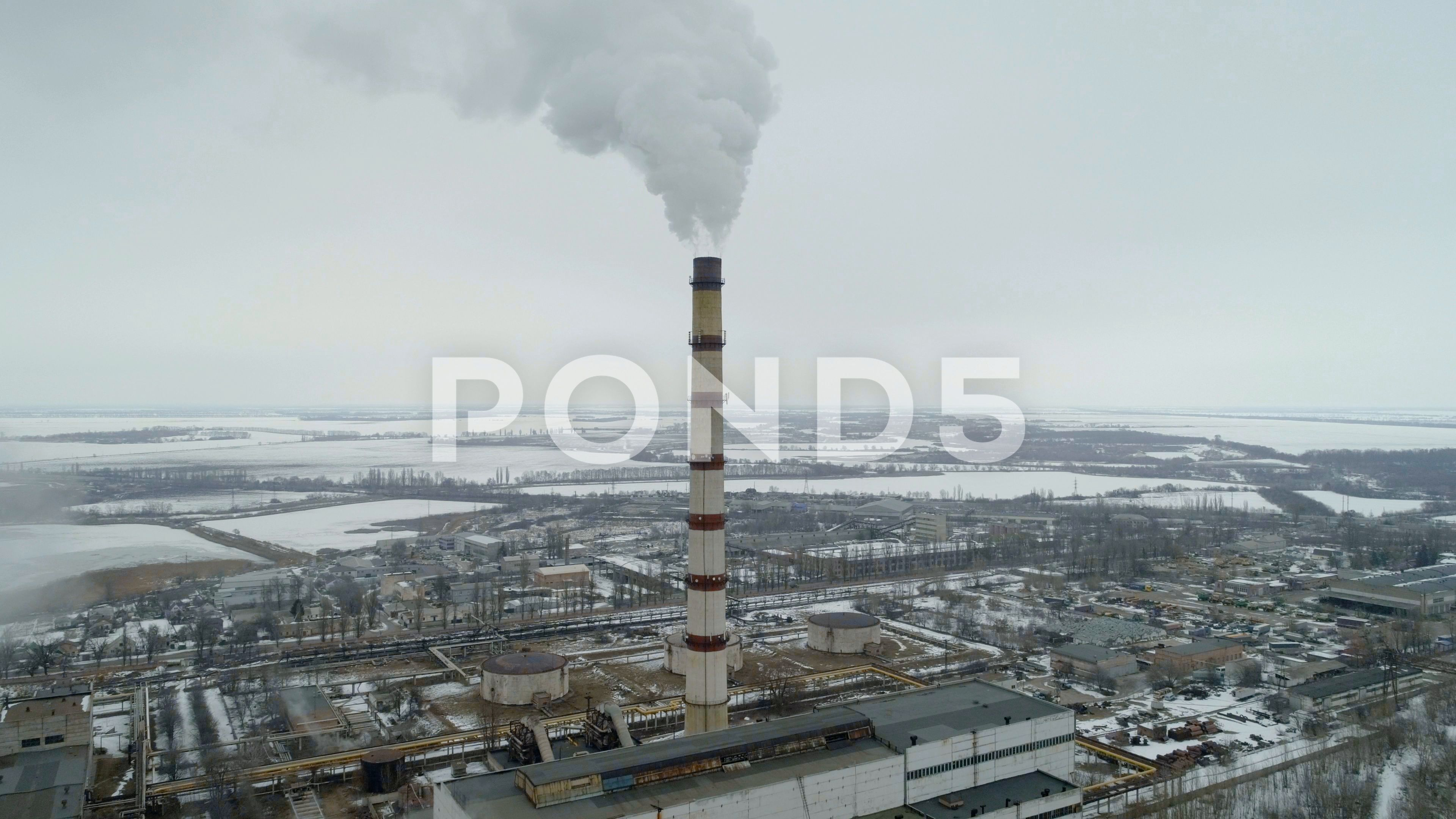 Thermal Power Plant Produces Massive Smoke In The Atmosphere Stock