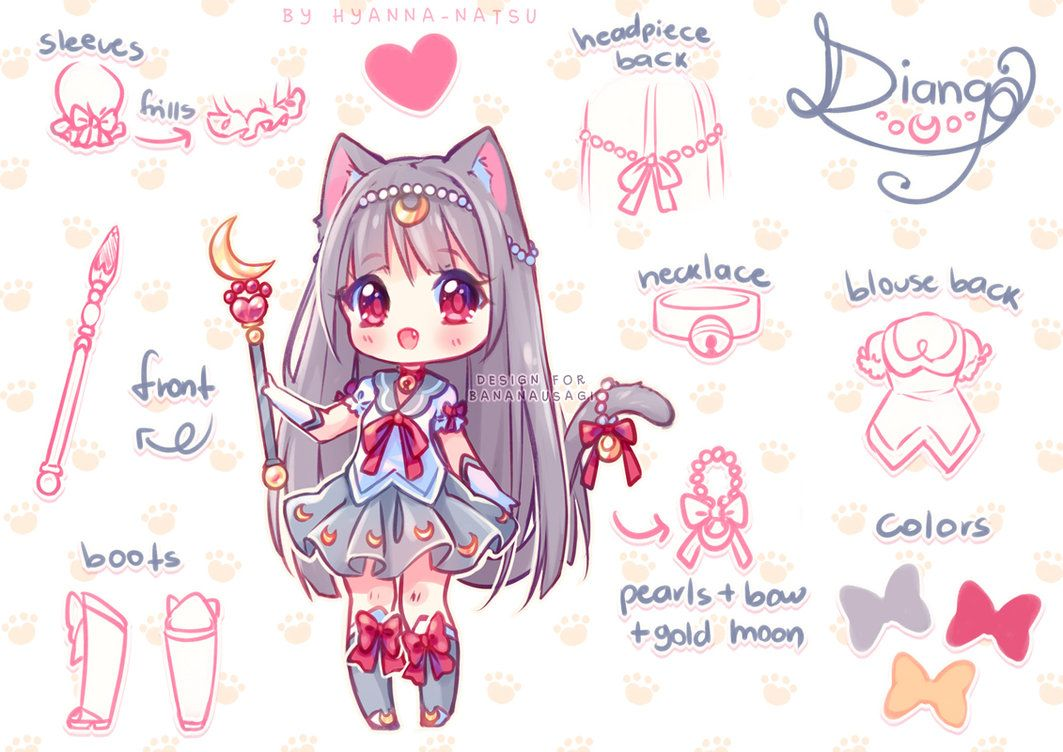 Commission With The Power Of The Nyans By Hyanna Natsu Deviantart Com On Deviantart Cute Anime Chibi Chibi Drawings Character Design