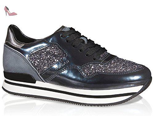 chaussures de sport 3fc25 afd4b Basket Hogan H222 femme en cuir brillant métal - Code modèle ...