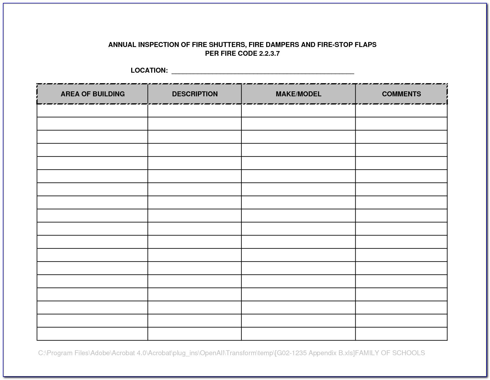 The appealing Fire Extinguisher Inspection Template Form