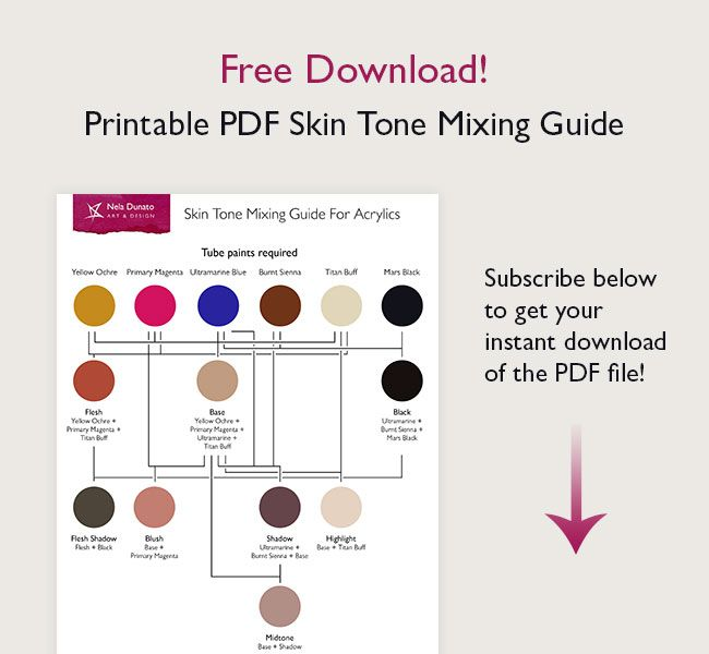 How I Paint Skin Tones In Acrylic Free Printable Pdf Mixing Guide Skin Color Palette Skin Palette Colors For Skin Tone