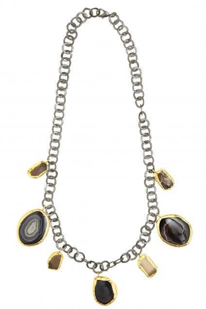 Zariin statement necklace black agate and uncut smoky topaz