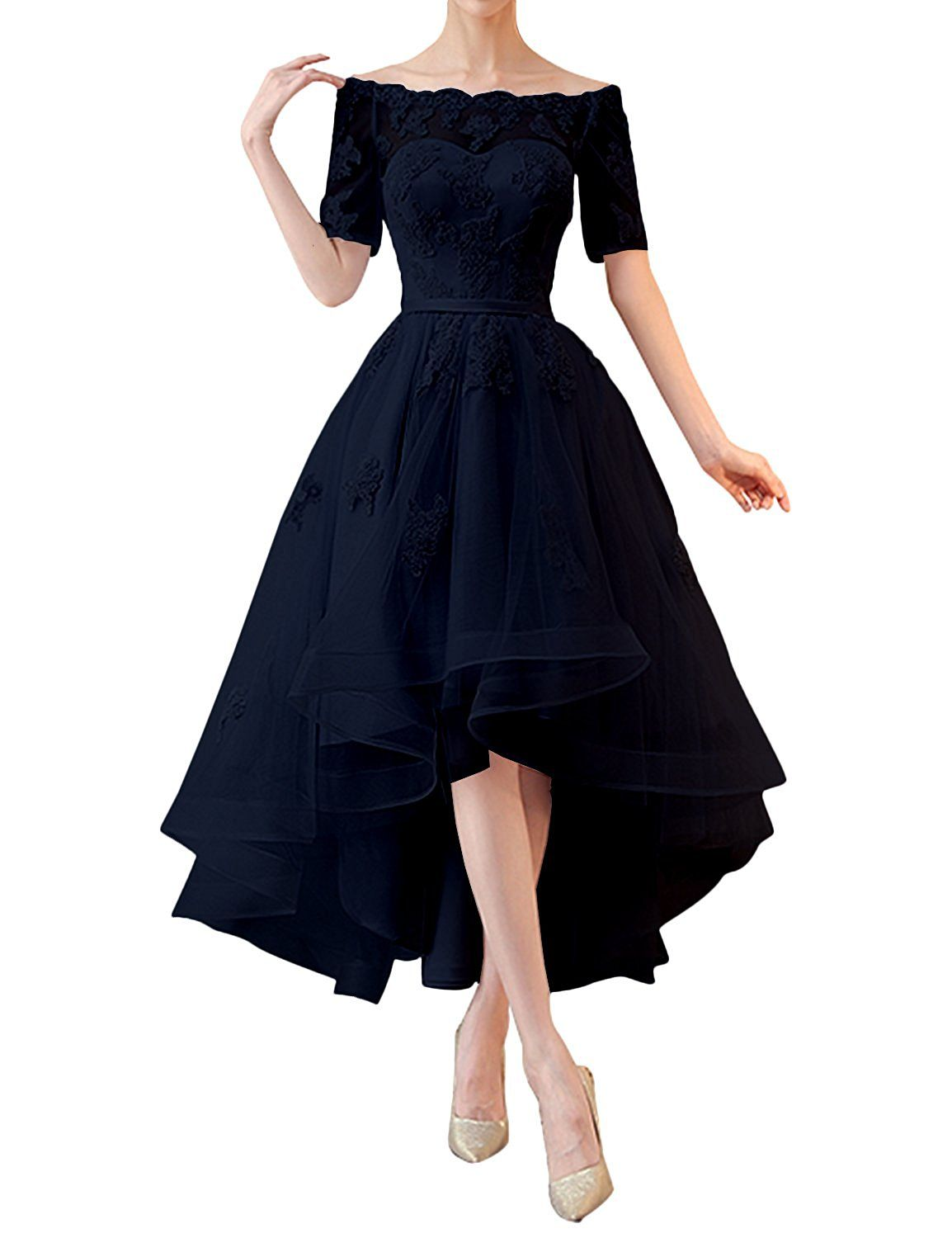 fddcf31d6347 Kevins Bridal High Low Prom Dresses 1/2 Sleeves Off Shoulder Bridesmaid Dress  Appliques Black Size 4 at Amazon Women's Clothing store: